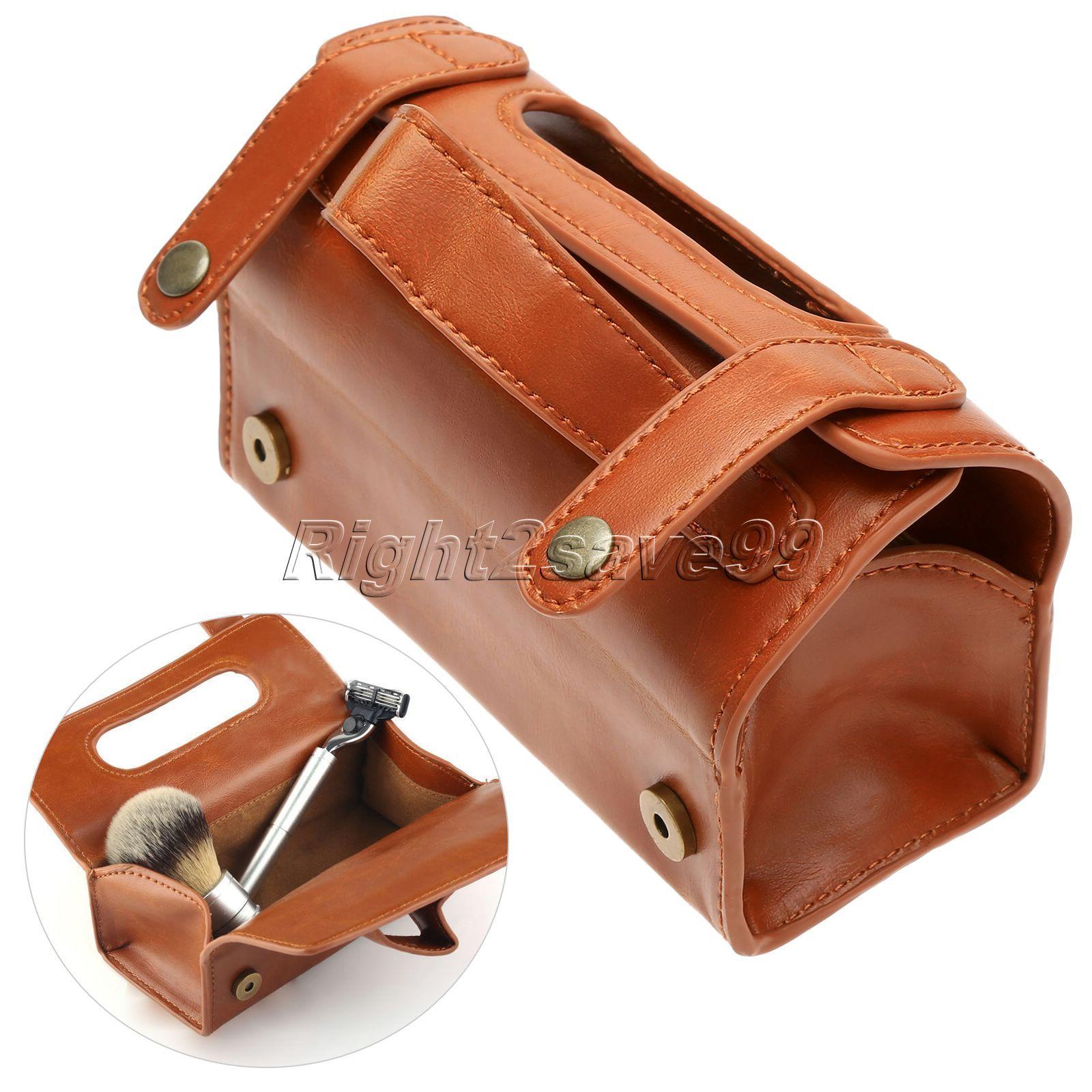 Hommes PU cuir voyage trousse de toilette rasage étui de lavage organisateur sac brun foncé pour protéger rasoir rasage cadeau conteneur