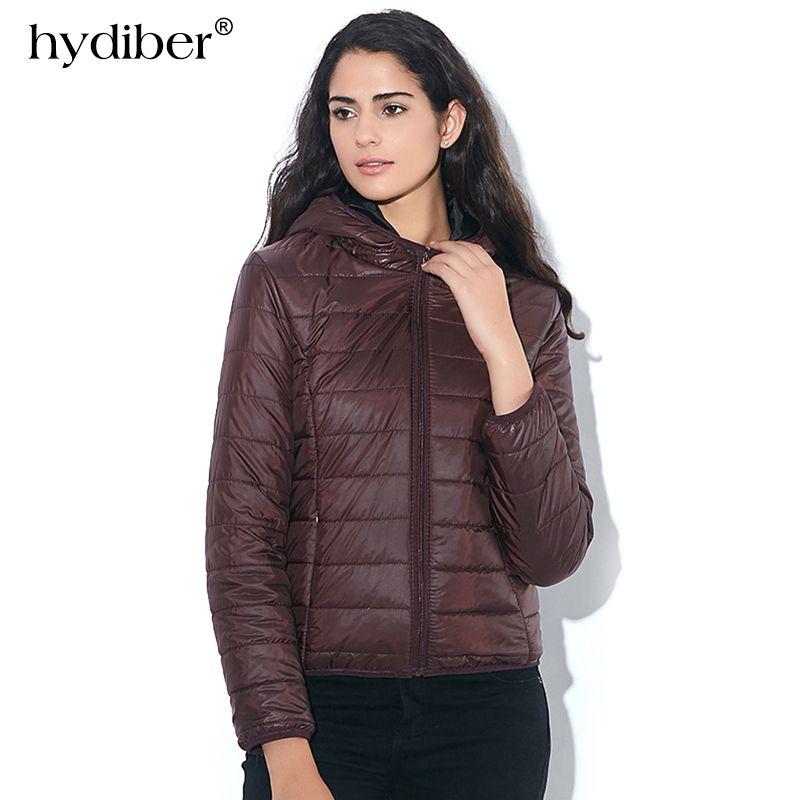 HYDIBER 2018 New Brand Fashion Winter Jacket Women Cotton Hooded Women's Long Sleeve Basic Coat Casual <font><b>Slim</b></font> Solid Parkas