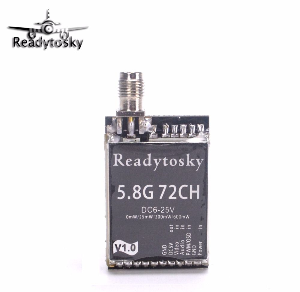 ReadytoSky Upgrated 5.8Ghz 25mW 200mW 600mW 72CH Switchable FPV AV Transmitter PK TX801 Racing Drone