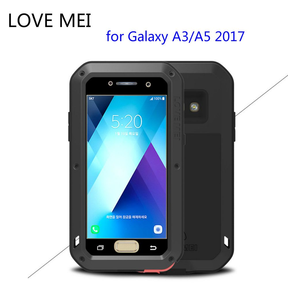 for Samsung Galaxy A5 2017 A520 Case LOVE MEI Shock Dirt Proof Water Resistant Metal Armor Cover Phone Case for Galaxy A3 A320