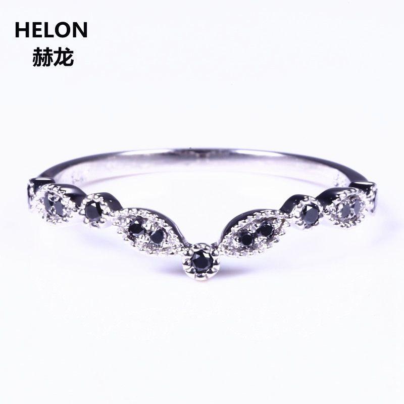 Sólido 14 K oro blanco natural negro diamantes anillo de compromiso aniversario banda de boda partido Joyería fina anillo de moda