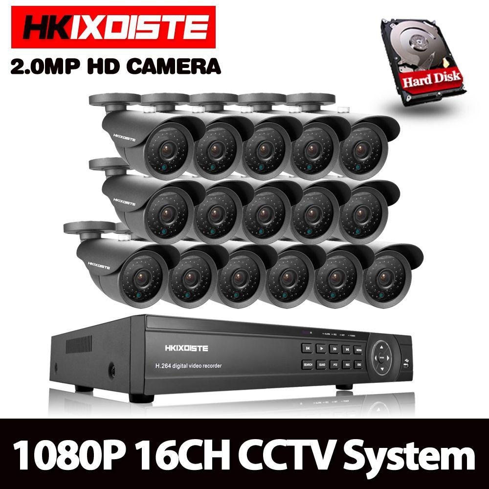 16CH 3000TVL 2.0MP HD Outdoor CCTV Security Camera System 1080P Home Video Surveillance DVR Kit 4TB HDD 16CH 1080P HDMI Output