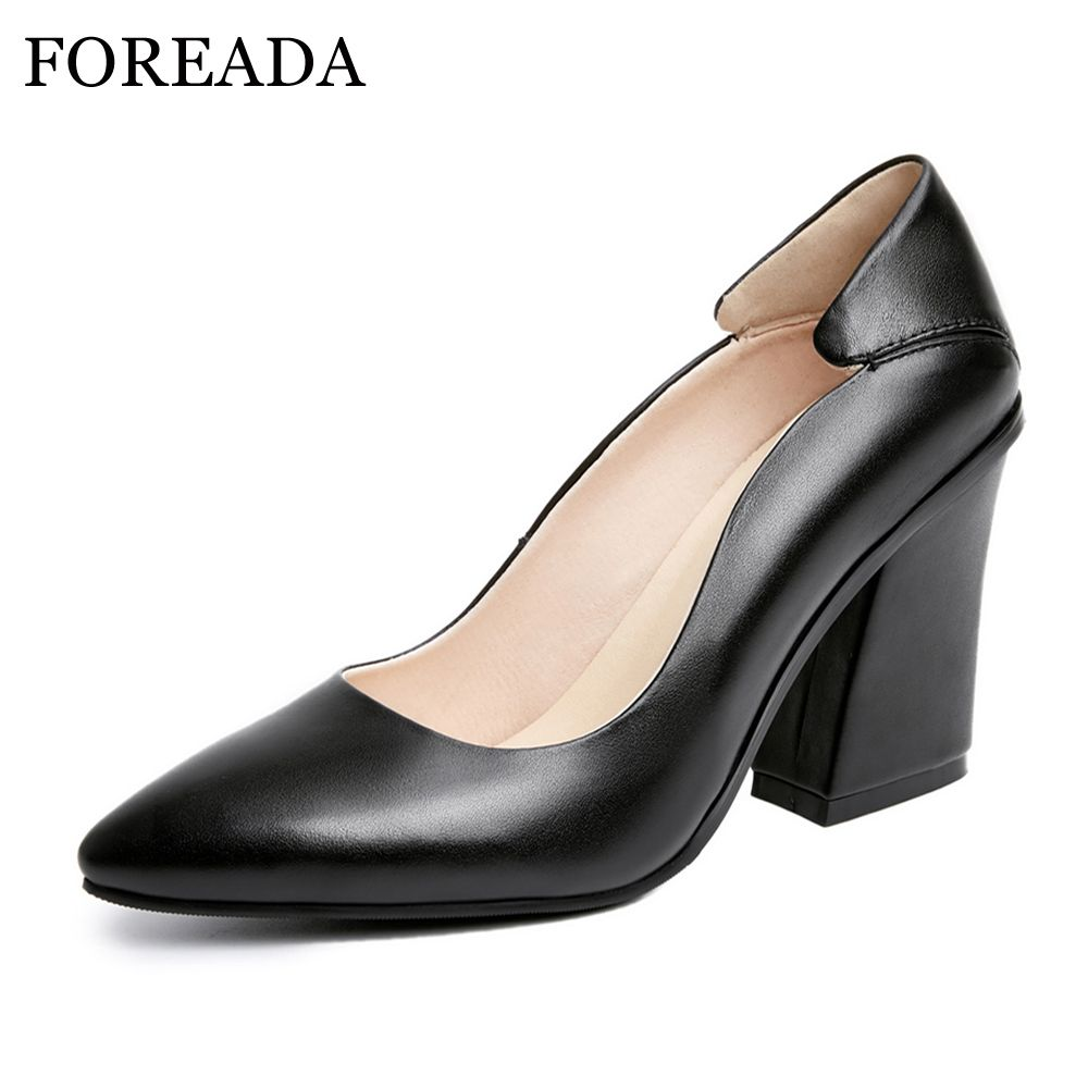 FOREADA Designer 2017 Genuine Leather Shoes Women Pumps Autumn Pointed Toe High Heels Ladies Office Pumps Black Big Size 41 42