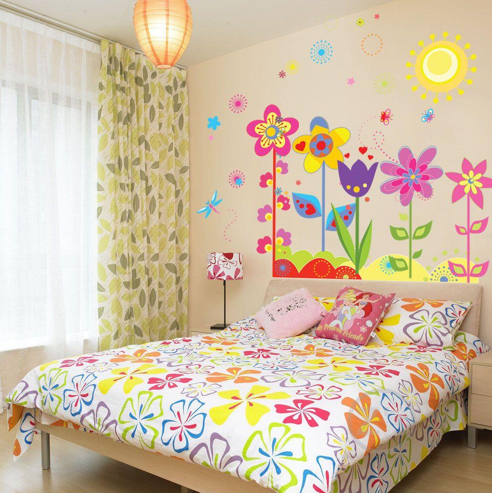 Zs Autocollant Fleurs stickers muraux enfant rôle de enfants adhésif filles chambre photo murale amovible vinyle