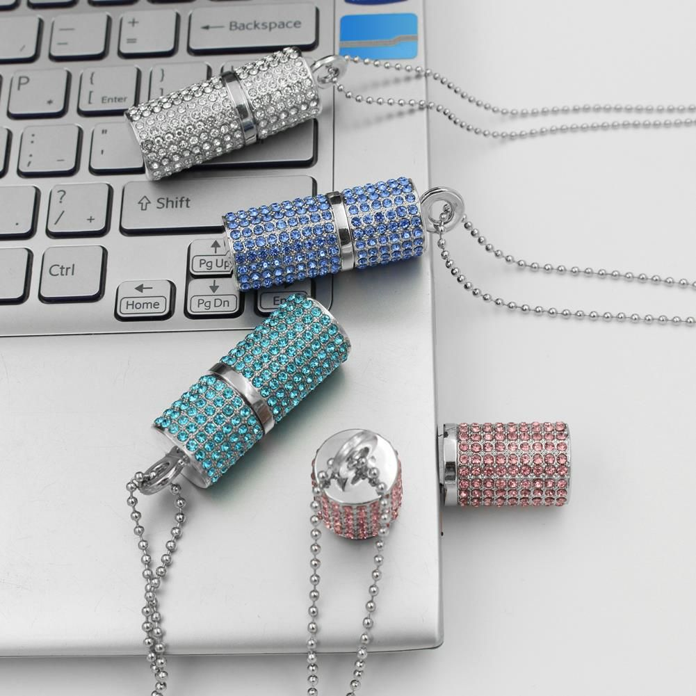 Jewelry Mini USB Stick 2.0 Pendrive 512 GB USB Flash Drive 1TB 2TB Real Capacity Crystal Pendrive 64GB/8GB/16GB/32GB Girl Gift