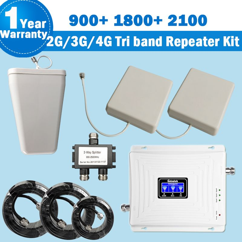 Lintratek NEW Tri Band Repeater 2G 3G 4G with 2 Antennas 900 1800 2100 MHz Mobile Phone Signal Booster Amplifier Kit for Home 44