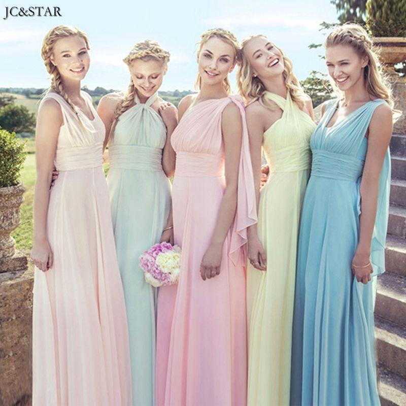 Jc & star multi-desgaste convertibles vestidos de dama de rosa púrpura vestidos de fiesta por encargo de la novia de dama de honor vestido de ir de fiesta