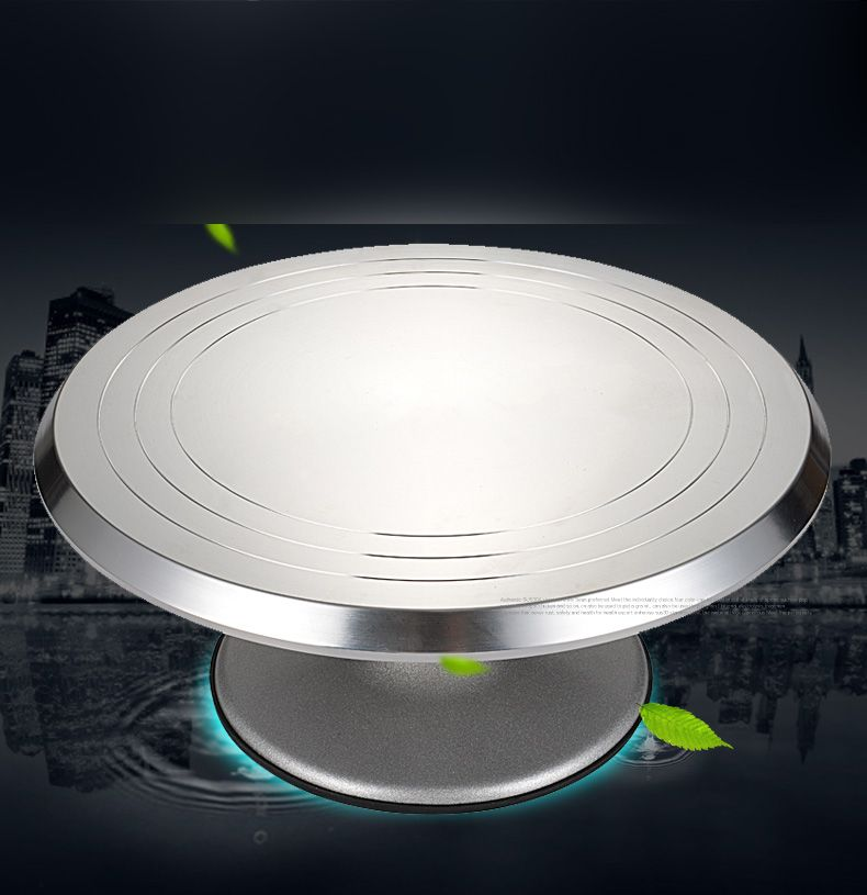 Aluminum Alloy Cake Decorating Turntable Anti-skid Cake Rotary Rack Table Scale Design& High Speed Rotate Bearing Cake Tools