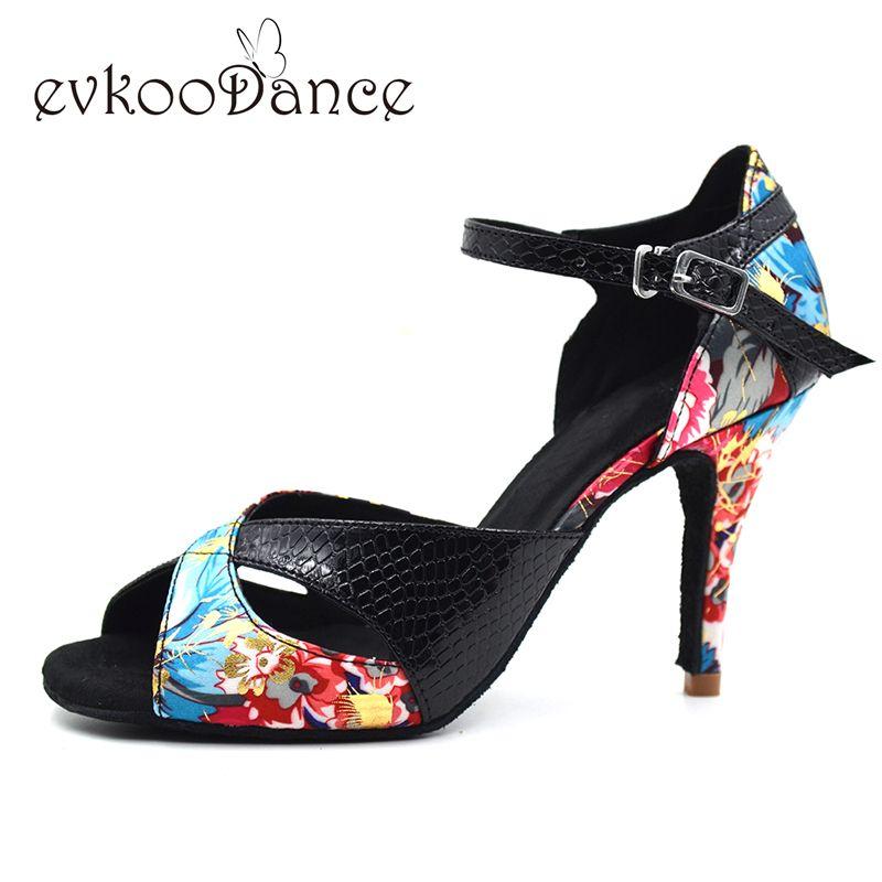 Zapatos de baile latino 2017 style girls Leather Satin material latin shoes 8.5cm heel Salsa Ladies latin shoes NL005