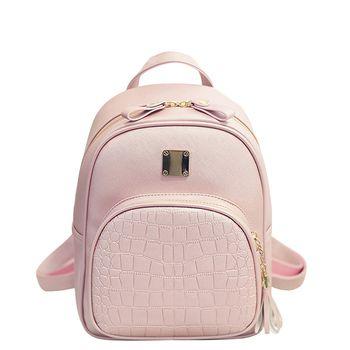 Мода PU Geniune кожа сумка Для женщин Рюкзаки крокодил картина небольшой рюкзак тиснением Школьные ранцы для Обувь для девочек