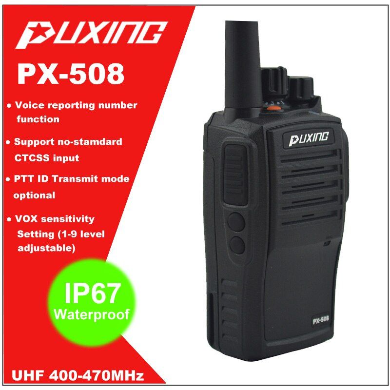 Hot Sale IP67 Waterproof Walkie Talkie Dust proof Radio Puxing PX-508 UHF 400-470MHz Portable Two-way Radio FM Transceiver