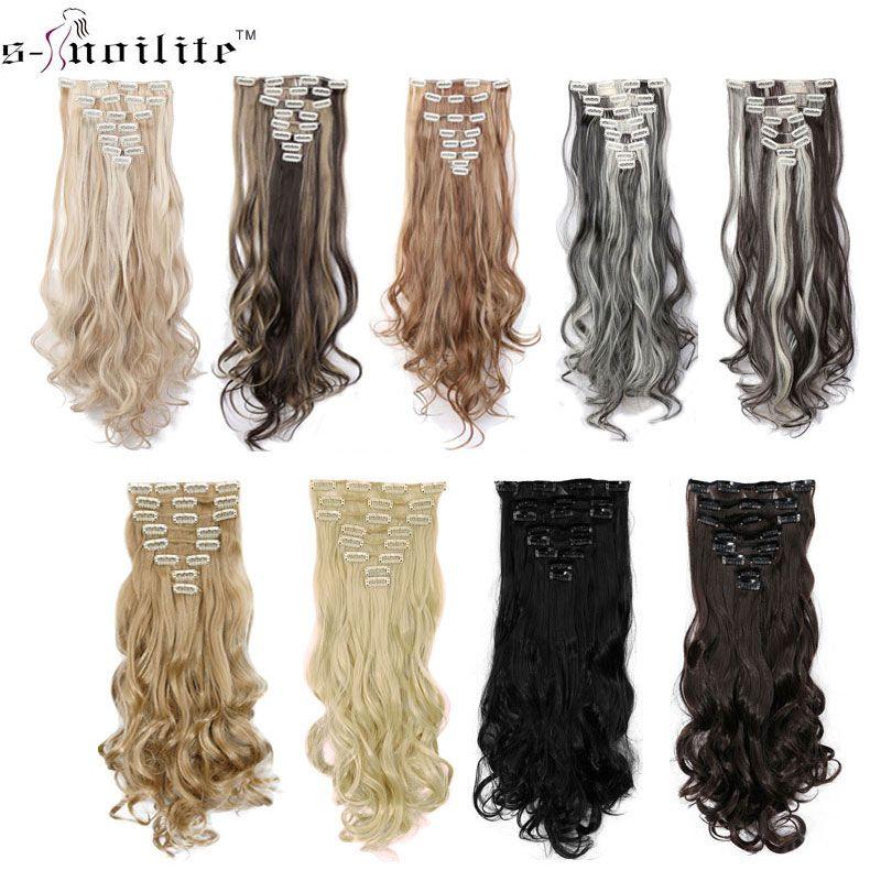 SNOILITE 24 pouces 170g Longs Bouclés 18 Clips en Faux Cheveux Styling Synthétique Extensions de Cheveux Postiche 8 pcs/ensemble Doux conchyliculture Noir