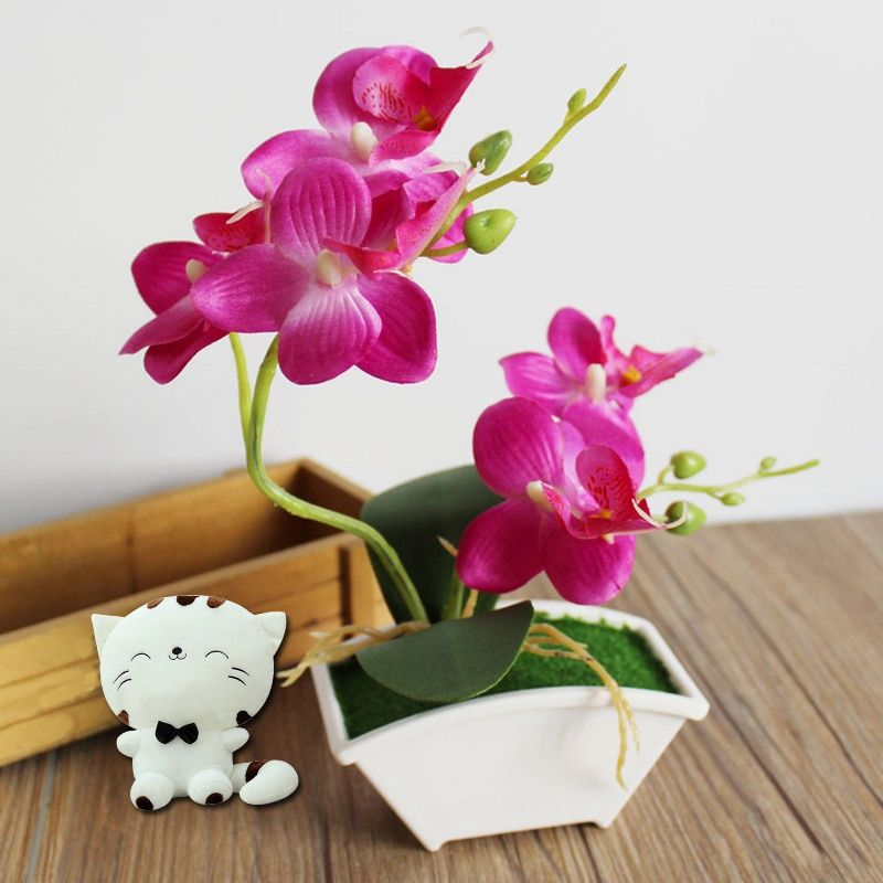 Orquídea Orquídea Mariposa Flores Artificiales Real Touch Flor Artificial Hojas Verdes Plantas de Flores De Seda de BRICOLAJE Decoración Del Hogar Maceta