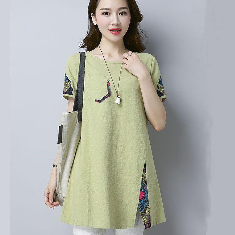 Cotton And Linen T-shirt Women Summer Short-sleeved Loose Korean Version Big Size Fat Mm Simple Casual Jacket Half-sleeved Cardi