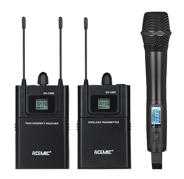 ACEMIC UHF 740-770MHz True diversity Wireless Mic handheld Microphone Camera SLR