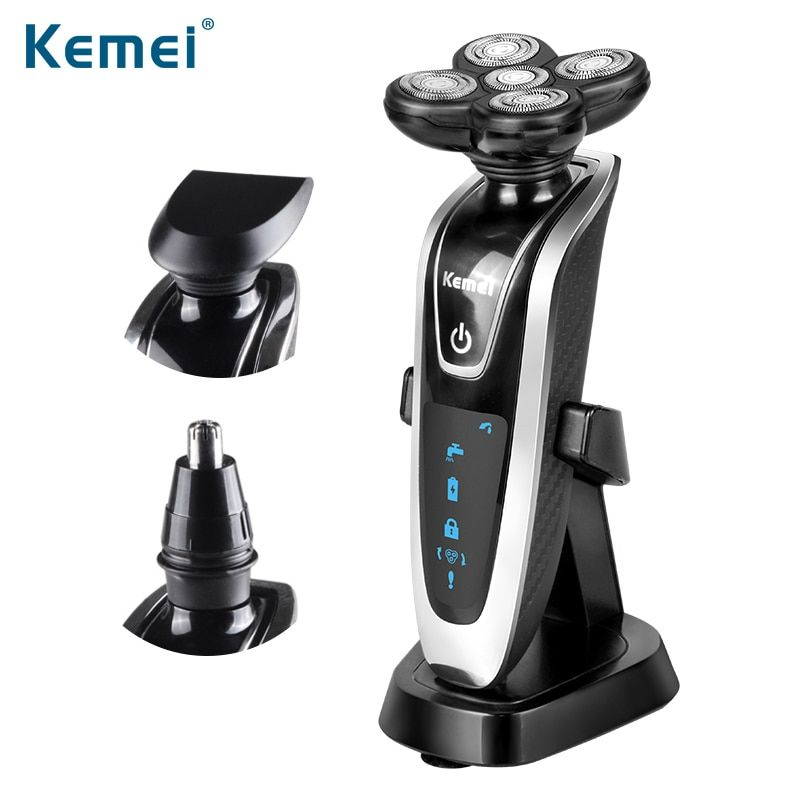 Kemei 3 in1 Electric Shaver Multifunctio Rechargeable 5 Blade <font><b>Washabl</b></font> Electric Shaving Razors Men Face Care 5D Floating 5886