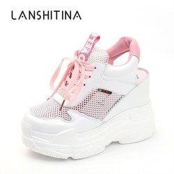 Повседневная обувь; женская обувь на плоской подошве; сетчатая дышащая обувь на платформе и танкетке; летние спортивные кроссовки 11 см; Mujer