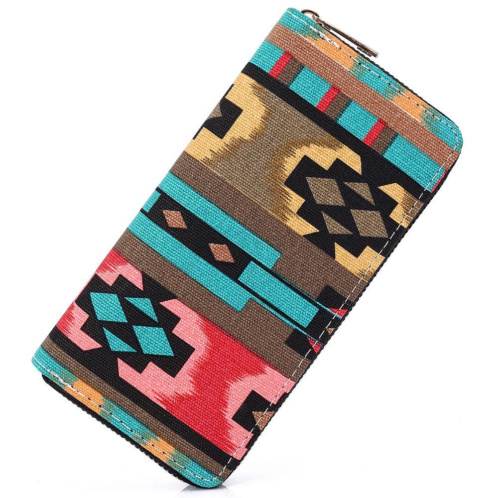 Sansarya nouveau 2018 bohême tissé Boho Long femmes portefeuille aztèque femme sac à main dames Tribal porte-carte filles avec fermeture à glissière Cupreous