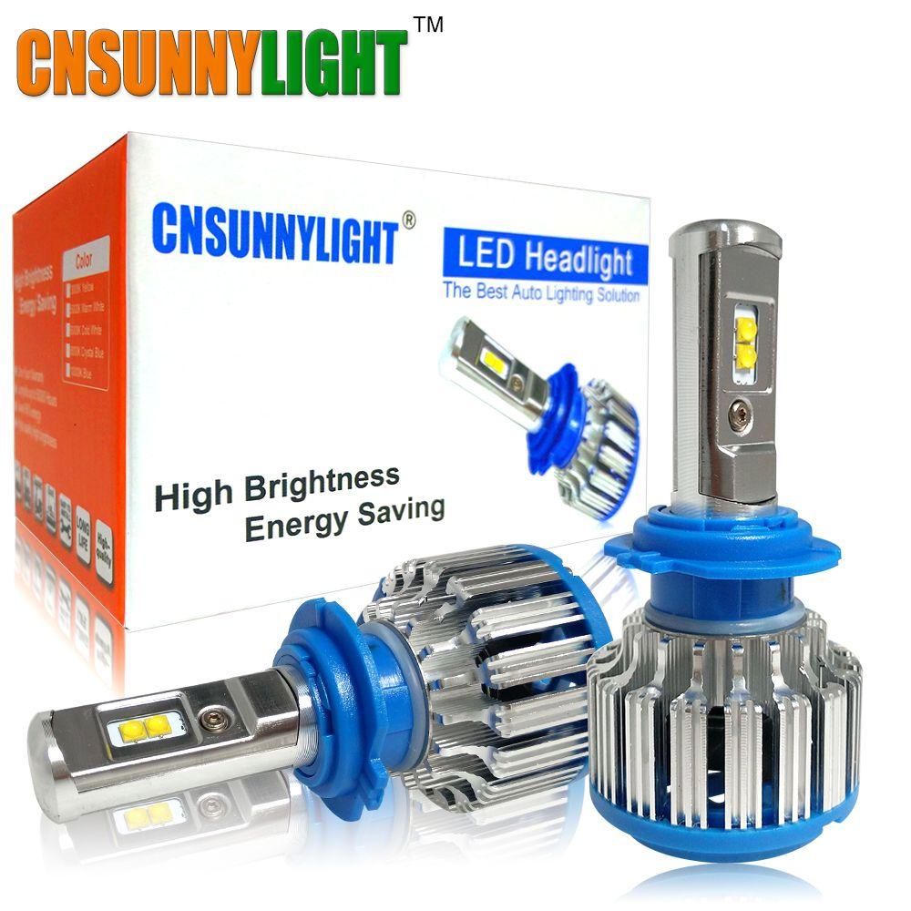 <font><b>CNSUNNYLIGHT</b></font> Car LED Headlights H7 H4 H1 H3 H11/H8 HB3/9005 HB4/9006 880 H13 9004 9007 7000LM Bright White Replacement LED Bulbs