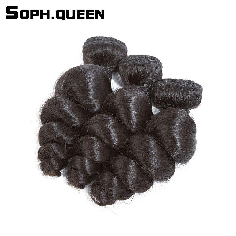 Soph reina peruana onda floja virginal del pelo humano bundles Extensiones de pelo 3 paquetes pelo más largo PCT 20% salón