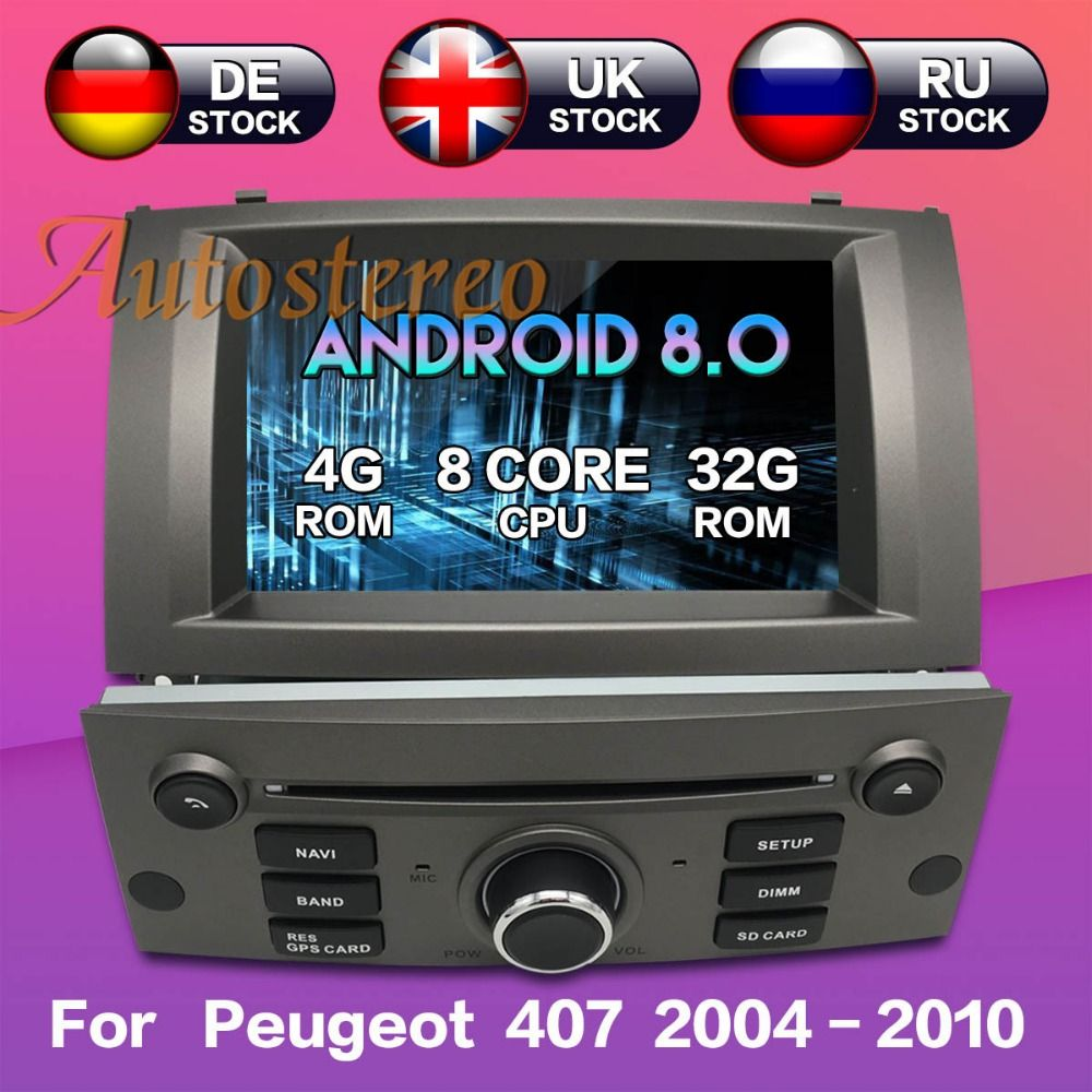 Octa core Android 8 Auto DVD CD-Player Für Peugeot 407 2004-2010 GPS navigation kopf einheit multimedia player radio band recorder