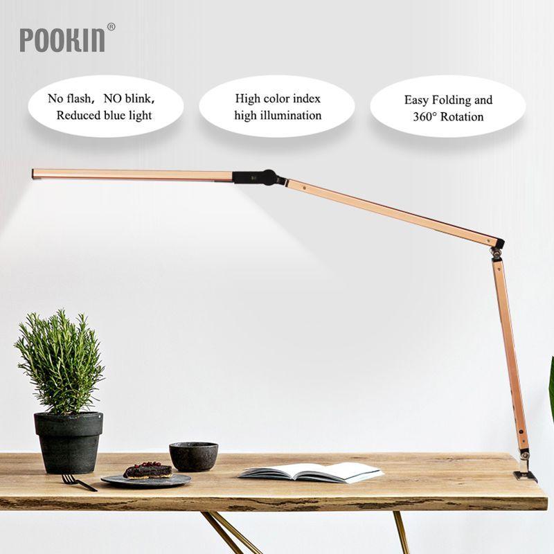 Lampe de bureau à bras Long Clip lampe de bureau à Led pour bureau lampe de livre longue durée protégée par les yeux pour chambre lumière Led luminosité et couleur à 3 niveaux