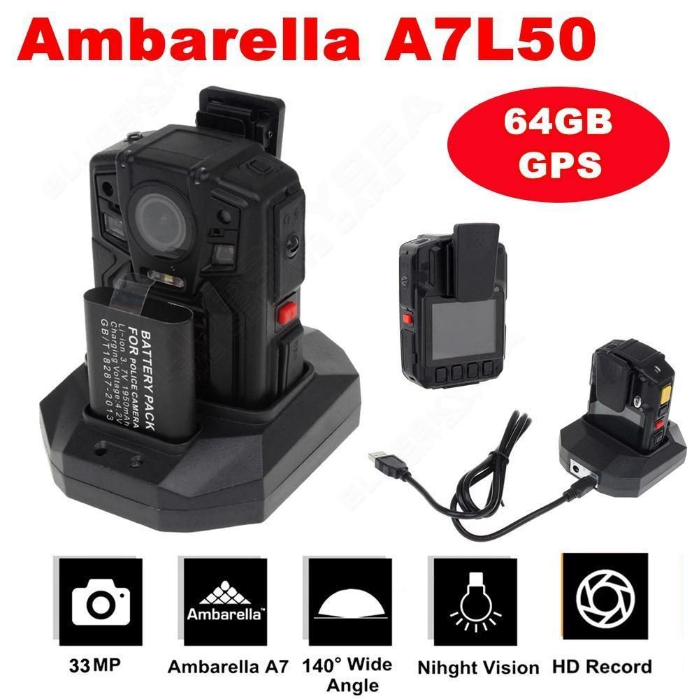 BOBLOV 64GB+GPS Ambarella A7L50 HD 1296P Police Body Worn Camera IR Light 8Hours 140 degree