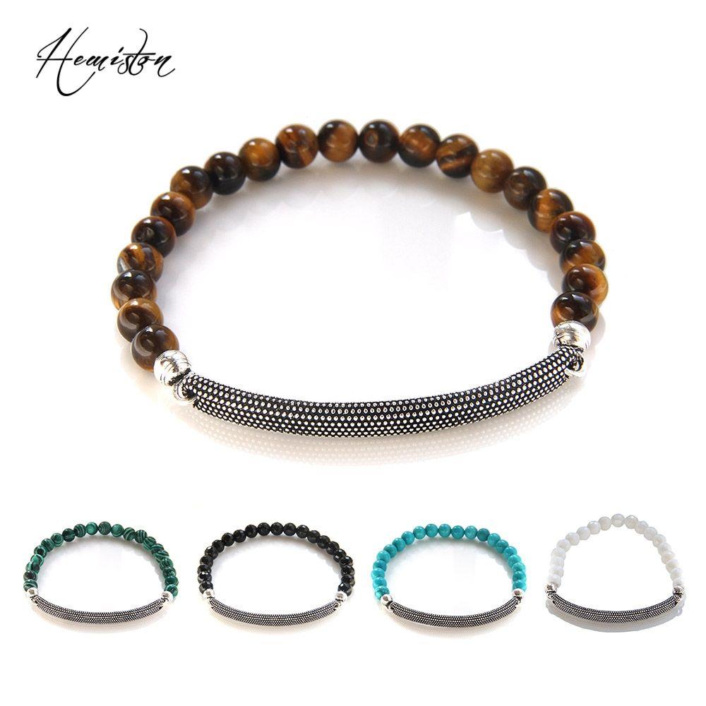 Thomas Style Oeil de Tigre, Malachite, Noir Onyx Perles Pont Bracelet, Bijoux De Mode Cadeau Femmes Hommes TS B594