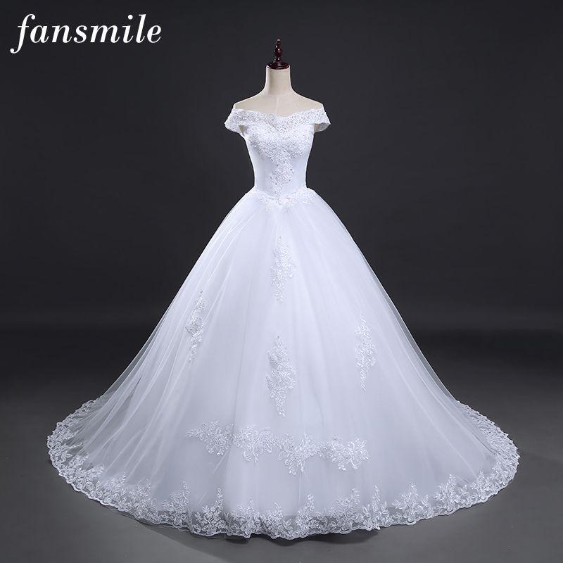 Fansmile Free Shipping Vintage White Long Train Wedding Dresses 2017 Vestidos de Noivas Plus Size Bling Bridal Gowns FSM-121T