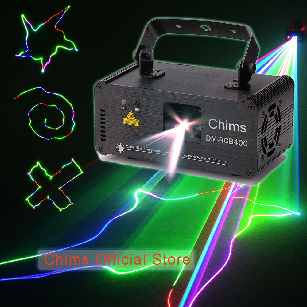 DMX512 Control Stage Laser Lighting RGB Scanner Projector Colorful Powerful Bright Light Beam 400mW Channel Party Holiday