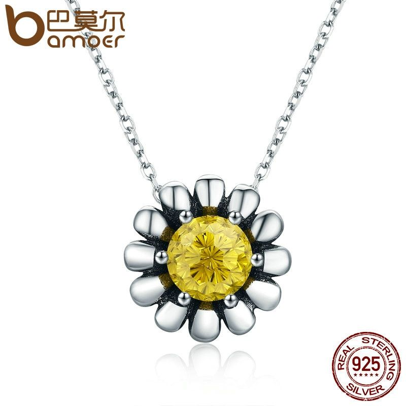 BAMOER 100% 925 Sterling Silver Blooming Yellow Daisy Flower Clear CZ Pendant Necklace for Women Luxury Silver Jewelry SCN184