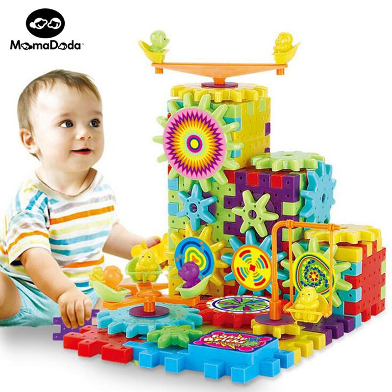 81 Pieces Electric <font><b>Gears</b></font> 3D Puzzle Building Kits Plastic Bricks Educational Toys For Kids Toys For Children Christmas Gift