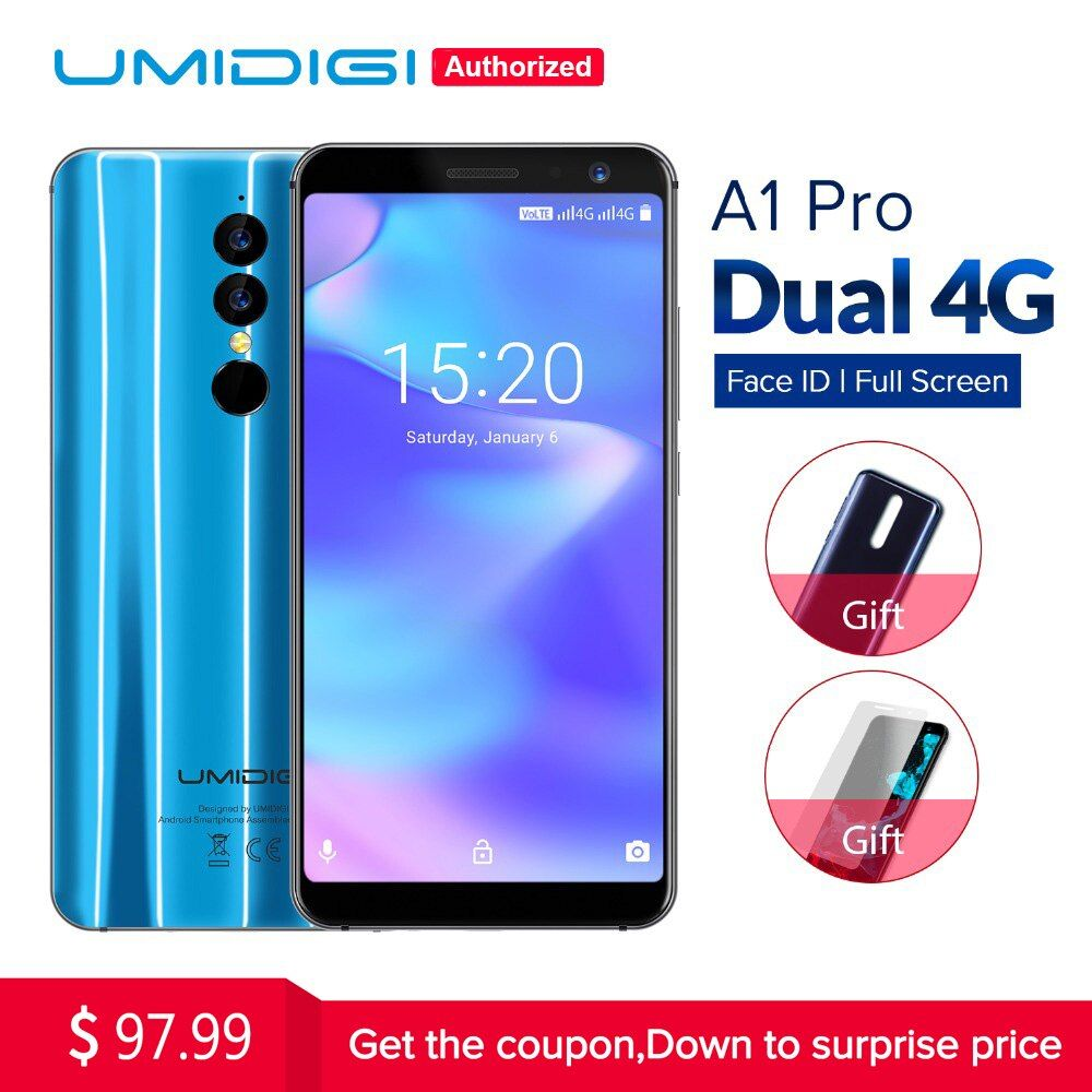 Umidigi A1 Pro <font><b>Global</b></font> Version Dual 4G LET Smartphone 18:9 Full Screen 3GB+16GB 3150mAh Android 8.1 Face ID MT6739 Cellphone