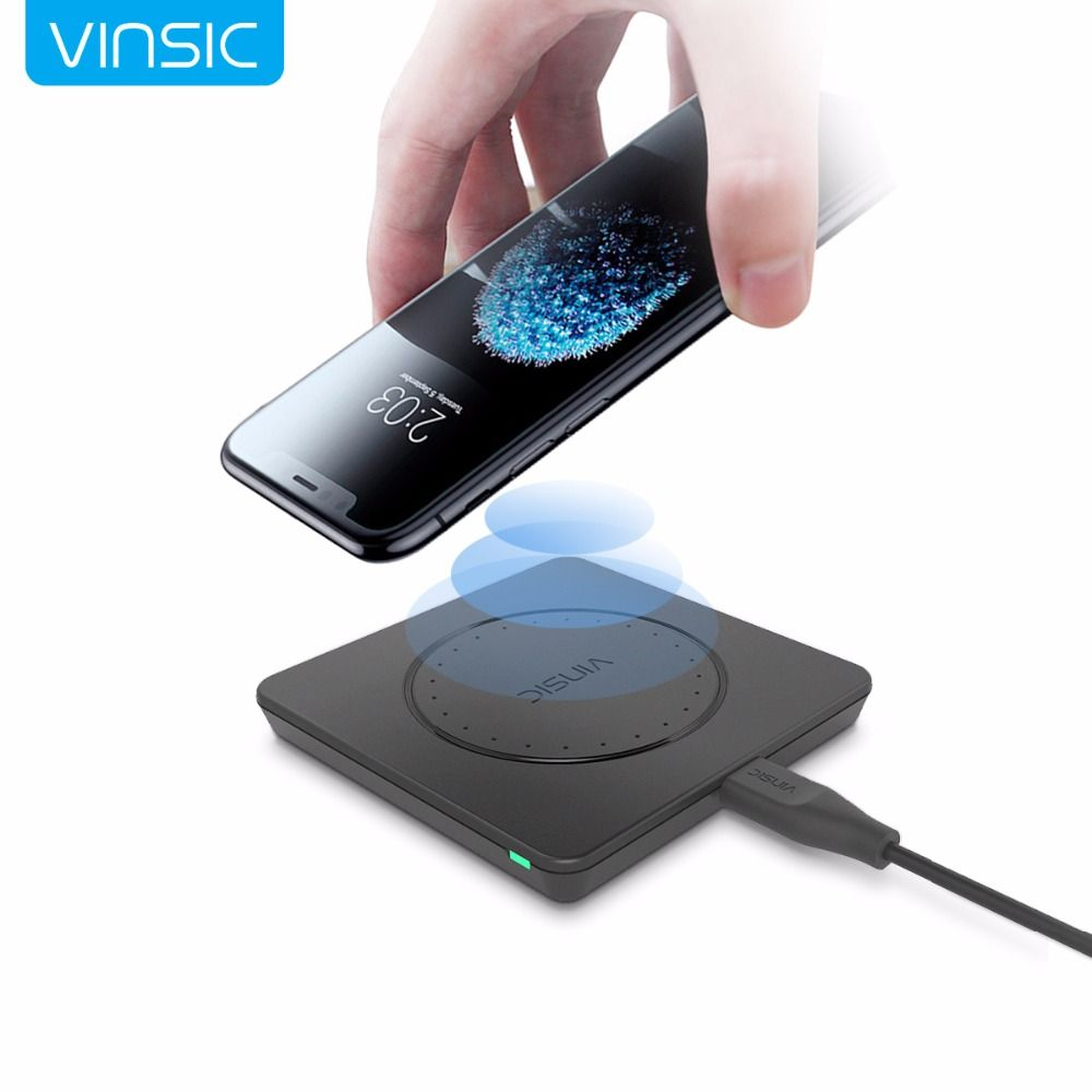 Vinsic Qi Wireless Charger Charging Pad for iPhone 8 8+ iPhone X Samsung Galaxy S7 Edge S6 Note 5 and Qi Enable Device