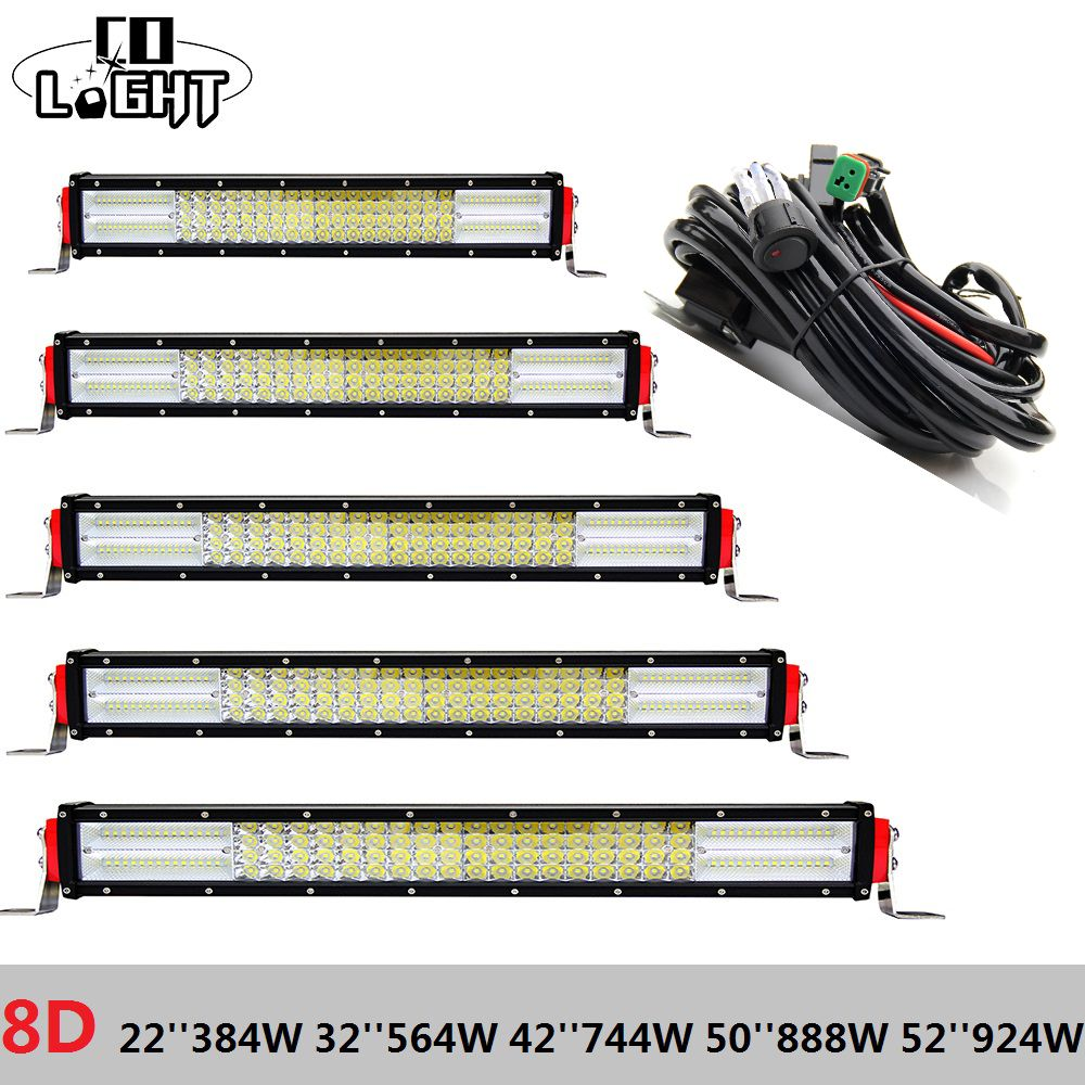 CO LIGHT Led Bar 22 Inch 32 42 50 52'' 8D Cree Chip Rampe Led for Off Road Jeep Wrangker Jk Lada Niva 4X4 Uaz Hunter Bus Tractor