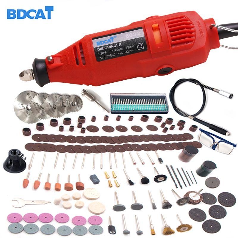 BDCAT 180w 110V/220V Dremel Style Rotary Tool Engraving Mini DIY <font><b>Drill</b></font> Grinding Machine with 207pcs Power Tools accessories