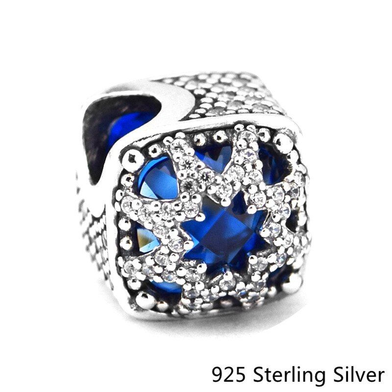 CKK 925 Sterling Silver Jewelry Blue Glacial Beauty Original Fashion Charms Beads Fits Pandora Bracelets