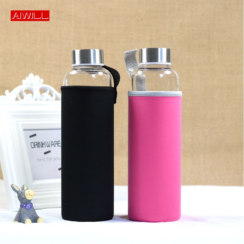 AIWILL Hot Selling Glass Sport Water Bottle With Protective Bag 280ml / 360ml / 550ml Fruit Outdoor Bike Bottles High Quality