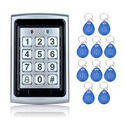 Gratis pengiriman 125 KHz Waterproof RFID Access Control keypad Logam + 10 Fobs Kunci untuk Pintu keamanan Sistem Listrik digital kunci