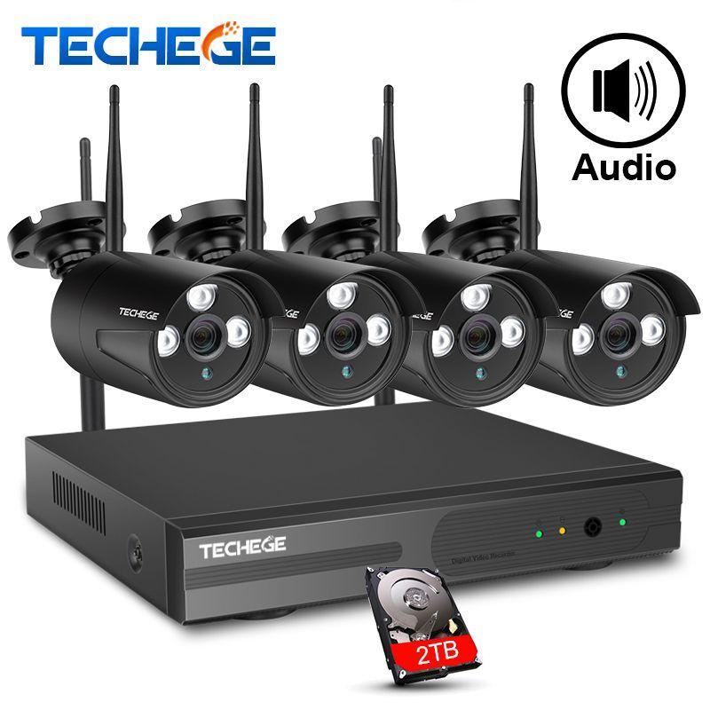 Techege Wireless CCTV System 4CH 1080P Wireless NVR 2.0MP WiFi IP Camera Audio Record CCTV Home Security System Surveillance Kit
