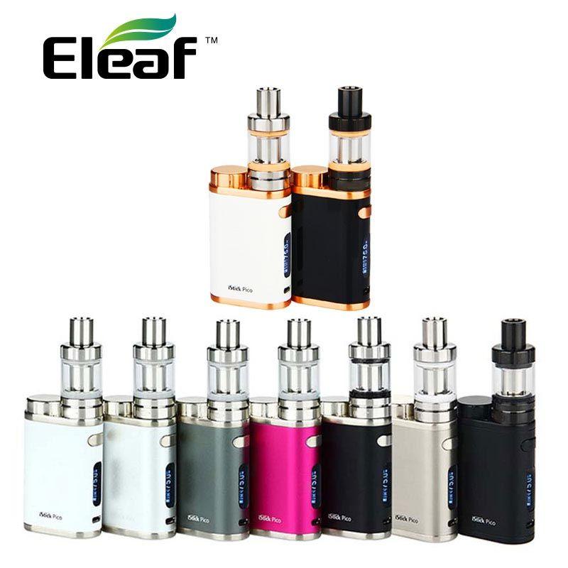 Electronic Cigarette Eleaf iStick Pico Starter Kit with 2ml MELO 3 Mini Tank 75W Box Mod NO 18650 Battery vs iStick Pico 25 Vape