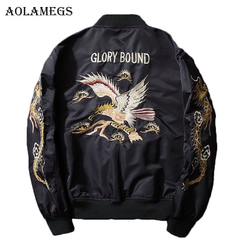 Aolamegs Bomber Jacket Dragon Eagle Embroidery Men's Jacket Stand Collar Fashion Outwear Autumn Men Coat Bomb Baseball Jackets