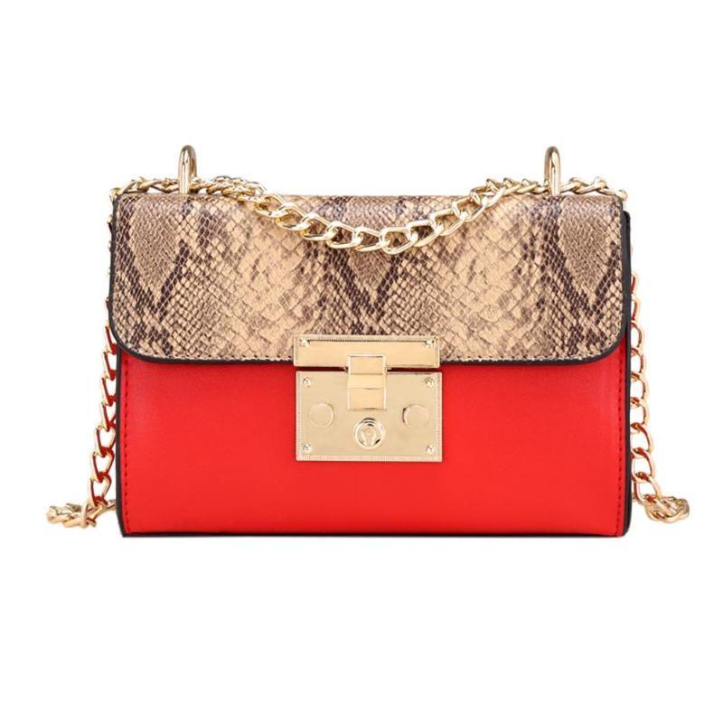 Fashion Women Snakeskin Pattern Shoulder Bag PU Leather Long Chain Crossbody Bags for Women Brand Designer Female Messenger Bags