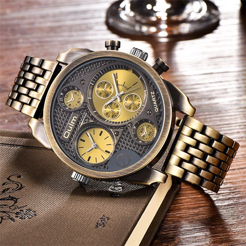 Oulm Individuality Big Watch Man Luxury Brand Quartz Wrist Watches <font><b>Gold</b></font> Men Full Steel Watch Military Male Clock montre homme