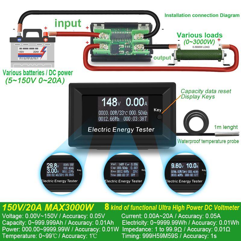 ATORCH DC courant mètres voltmètre numérique ampèremètre tension ampèremètre wattmètre volt testeur de capacité indicateur lcd moniteur