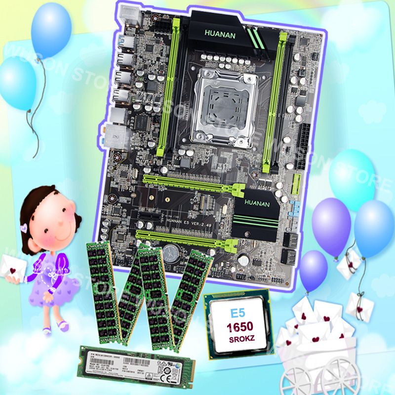 Brand new motherboard HUANAN ZHI discount X79 motherboard with M.2 128G SSD RAM 32G(4*8G) 1600 RECC CPU Xeon E5 1650 C2 3.2GHz