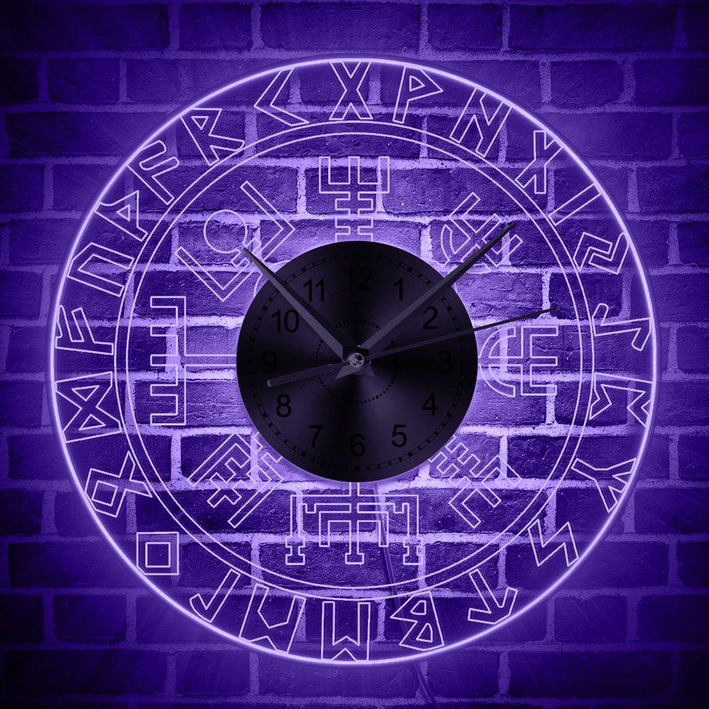 1Piece Viking Runes LED Wall Clocks Vintage Art Wall Watches Man Cave Transparent Acrylic Luminous Wall Clock Decor For Pub