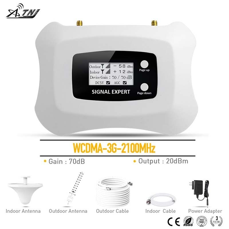 3G Signal repeater WCDMA 2100MHz Mobile Signal Booster Cellular signal ampllifier kit with Yagi+Ceiling antenna for home use