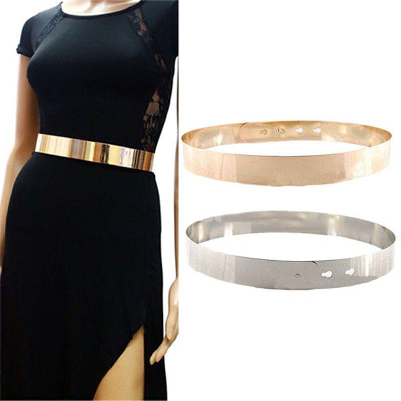 Nouvelle Mode Femmes Robe ceinture En Métal Argenté Or Miroir Visage Ceinture Large À Nouer Autour de La Taille Mince Ceinture Accessoires