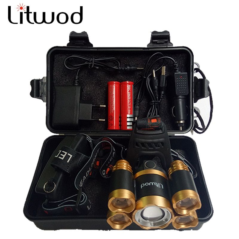 Litwod Z20 Newest Power Bank Function 5T6 Led <font><b>Headlamp</b></font> Micro USB Rechargeable 18650 Battery zoom headlight 3 style Lamp Light